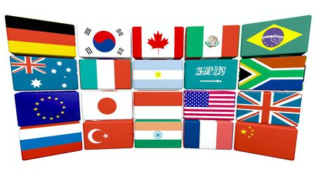 3d flag objects created as Great twenty flags, white background Stock Photo - 6042141