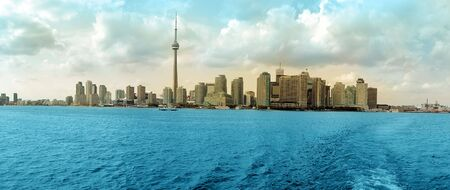 Toronto Cityscape colored panorama, Ontario Lake. Canada