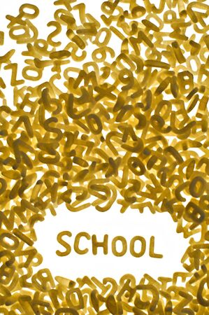 word SCHOOL made of pasta letters on white background, vertical photo Stock Photo - 6145150