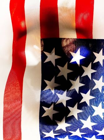 real human skull contours behind an american flag - conceptual photo photo