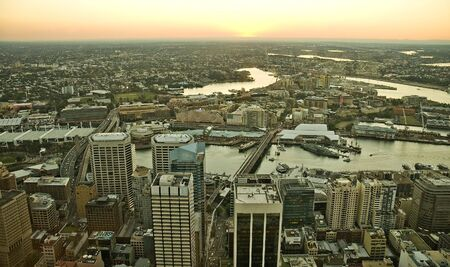 anzac bridge: view from Sydney Tower, Darling Harbor and Anzac Bridge cityscape Stock Photo