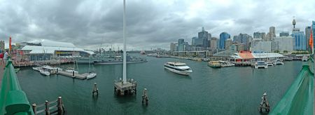 panorama photo of Darling Harbour in Sydney. National Maritime Museum, Wildlife World, Aquarium and Sydney Tower in picture.