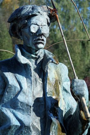 andy: Andy Warhol with umbrella, sculpture in Medzilaborce, Slovakia