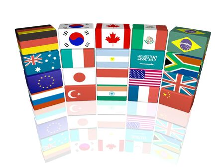 3d cube flags of Great Twenty countries, isolated on white background with reflection Stock Photo - 6723873