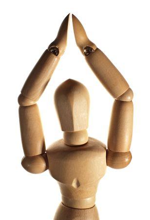 small wooden figurine, conceptual pose, white background Stock Photo - 6723876