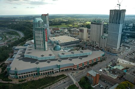 niagara falls city: SEPTEMBER 16 2008 - Niagara Falls, Canada - Fallsview Casino Resort, viewed from Skylon Tower Editorial