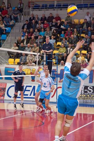 finals: 15. April 2010 - HUMENNE, SLOVAKIA - Peter Vahovsky (VK PU Mirad Presov) trying to catch a ball during second finals match against VK Chemes Humenne