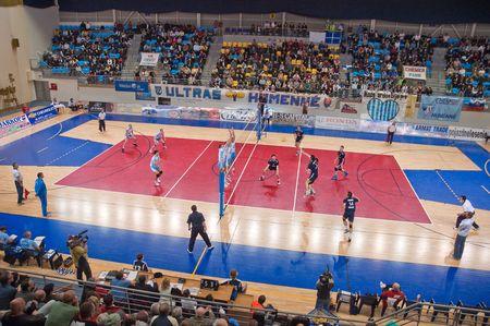 pu: 15. April 2010 - HUMENNE, SLOVAKIA - Slovak volleyball finals - second match between VK Chemes Humenne and VK PU Mirad Presov