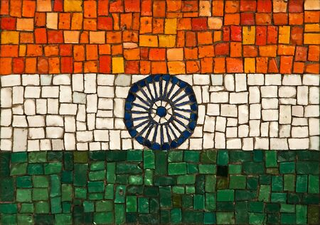 The national flag of the republic of India, created as window pane. photo