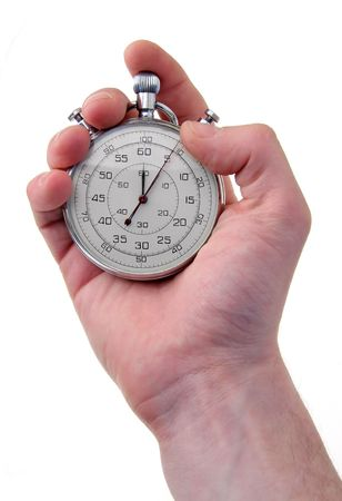 timescale: human hand holding a stainless stop-watch, isolated on white background Stock Photo