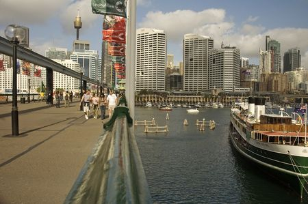 2. OCTOBER 2006 - SYDNEY, AUSTRALIA - Pyrmont Bridge at Darling Harbour, Sydney, Australia