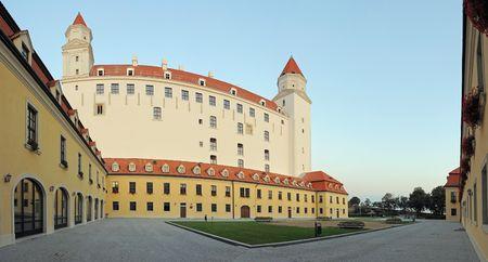 white painted Bratislava castle, panorama photo Stock Photo