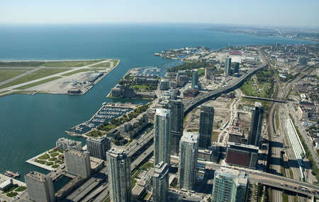 aerial view of Toronto center, airport on left side photo