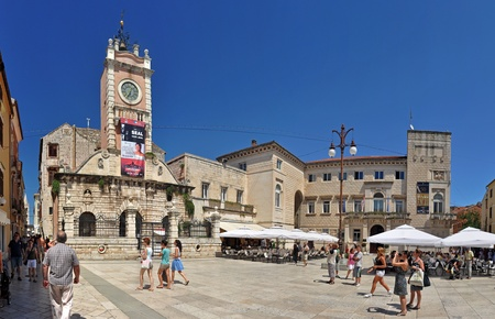2 AUGUST 2010 - ZADAR, CROATIA - Narodni trg square with several tourists. Photo taken in Zadar, on 2. August 2010 Editorial