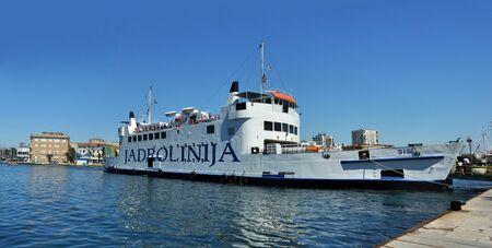 2 AUGUST 2010 - ZADAR, CROATIA - car-ferry Jadrolinija docking at Zadar harbour. Photo taken on 2. August 1010.