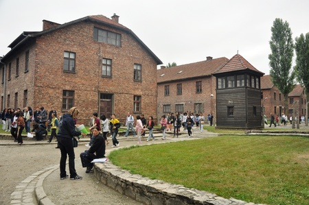 26. 7. 2010 - OSWIECIM, POLAND - tourists at concentration camp Auswitz near Oswiecim, Poland. Photo taken on 26 July 2010.