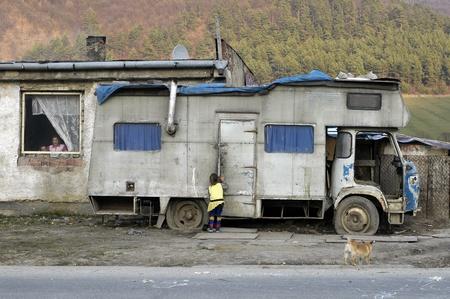 8. MARCH 2007 - HUMENNE, SLOVAKIA - desolate gypsies settlement in Humenne, Slovakia. Photo taken on 8. March 2007.