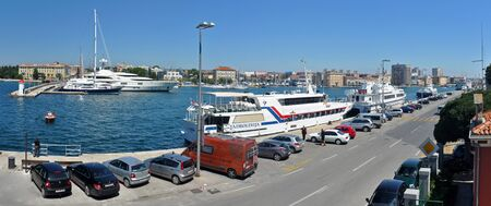 2. AUGUST 2010 - ZADAR, CROATIA - harbor panorama photo, with several tourist boats. Photo take from Old Town of Zadar, Croatia, on 2. August 2010. Editorial