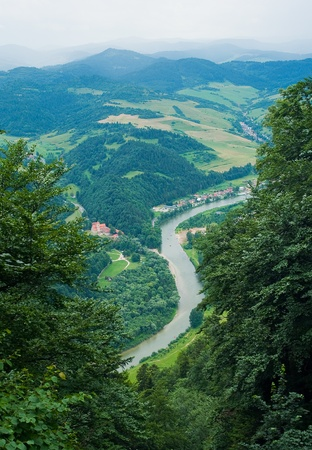 the other side: Dunajec river viewed from Three Crowns hill in Poland. Slovakia is on the other side of the river.