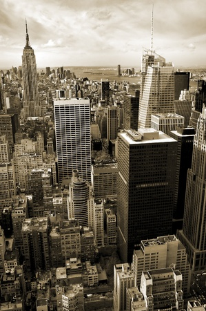 vertical aerial photo of sepia colored Manhattan, Empire State Building in background