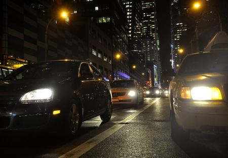 urban traffic at night in New York