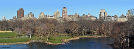 panorama photo of Central Park in Manhattan, viewed from Belvedere Castle