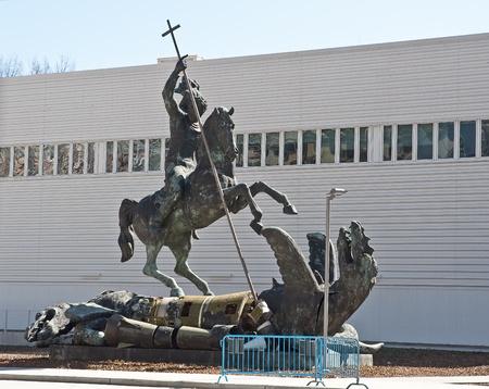 Good Defeats Evil sculpture near UN Headquarters in New York, USA