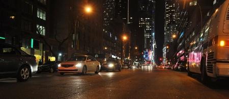 night urban panorama with light traffic, photo taken in New York