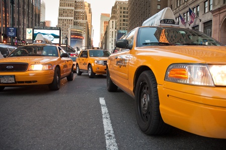 yellow taxi: 29. MARCH 2011 - MANHATTAN, NEW YORK, USA - yellow taxi cars near Madison Square Garden in Manhattan, NY, USA. Photo taken on 29. March 2011. Editorial