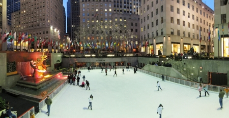 26. MARCH 2011 - MANHATTAN, NEW YORK, USA - panorama photo of Ice Rink at Rockefeller plaza. Photo taken on 26. March 2011 in New York, USA. Editorial