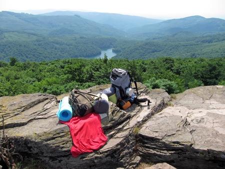 oko: hikers equipment on a rock, Photo taken on Sninsky kamen near Morske oko, Slovakia.