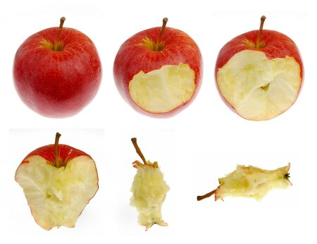 consummation: Collection of red apple in different consummation stages, Isolated on White Background
