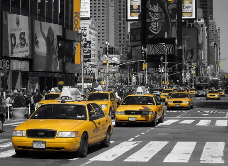 26. MARCH 2011 - TIMES SQUARE, MANHATTAN, NEW YORK CITY, USA - black and white photo of Times Square with yellow dominant color. Photo taken on 26 march 2011 in New York, USA.