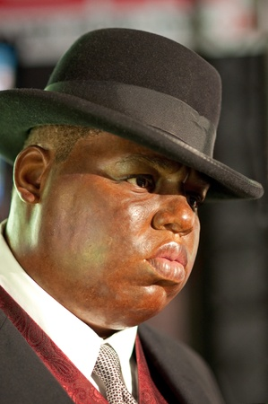notorious: 31. MARCH 2011 - MANHATTAN, NEW YORK CITY, USA - wax figure of Notorious B.I.G. (Biggie Smalls, Big Poppa )at Madame Tussauds in New York, USA. Photo taken on 31. March 2011.