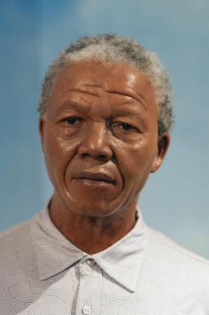 31. Mars 2011 - Manhattan, New York City, Etats Unis - figure de cire de Nelson Mandela au mus�e Madame Tussauds � New York, Etats-Unis. Photo prise le 31. Mars 2011.