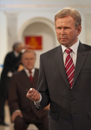 31. MARCH 2011 - MANHATTAN, NEW YORK CITY, USA - wax figurine of George Walker Bush (43rd President of the United States) at Madame Tussauds in New York, USA. Photo taken on 31. March 2011. Editorial