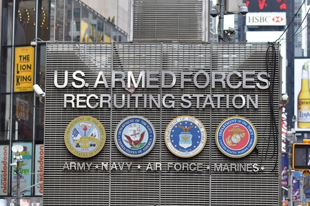 31. MARCH 2011 - TIMES SQUARE, NEW YORK CITY, USA - US Armed Forces recruiting station in center of Times Square, New York City. Photo taken on 31 march 2011.