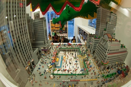 22. MARCH 2011 - NEW YORK, USA - Rockefeller center plaza in New York - mini model made from LEGO. Photo taken near Rockefeller center in New York, on 22 march 2011. Stock Photo - 11457963
