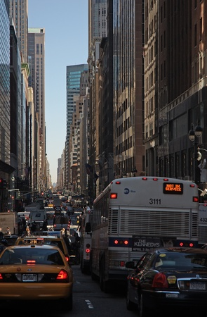 28. MARCH 2011 - MANHATTAN, NEW YORK CITY, USA - cars and bus\ traffic jam in the streets of New York City. Photo taken on 28.\ march 2011.\
