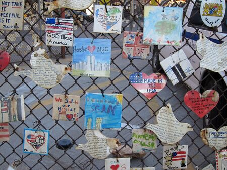 """29. MARCH 2011 - MANHATTAN, NEW YORK, USA - """"Tiles For America"""" semptember 11 remembrance memorial on Mulry Square, Manhattan. """"Tiles for America"""" is now on the Greenwich Village Historic District National Register. Mulry Square is a triangular parking lo"""