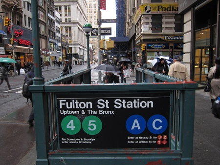 31. MARCH 2011 - street view of Fulton St Station subway station in New York, USA. Photo taken on 31 march 2011.