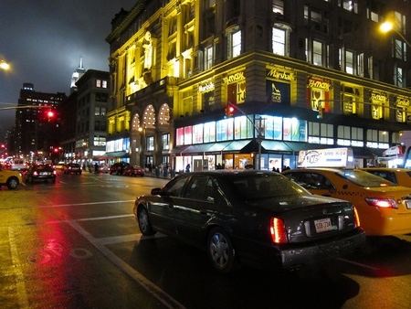 31. MARCH 2011 - MANHATTAN, NEW YORK, USA - night street scene in New York City, USA. Photo taken on 31 march 2011.