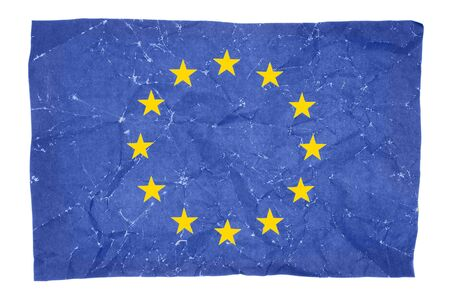 wrinkled flag of European Union isolated on white background photo