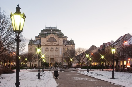 winter theater: The State Theatre (Statne divadlo) in Kosice, winter evening photo Editorial