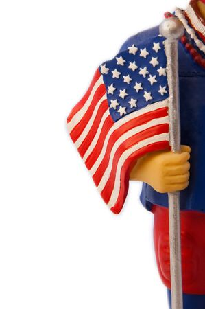 detail photo of a boy toy holding an American flag, isolated on white background Stock Photo - 11806407