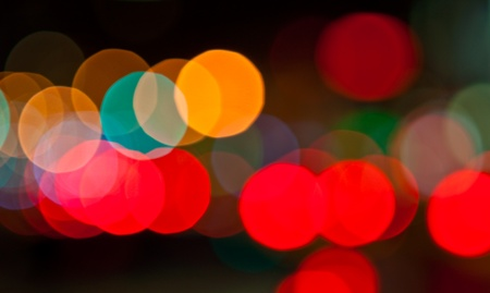 out of focus: bokeh (out-of-focus blur) of mostly red cars lights, photo taken in New York Stock Photo