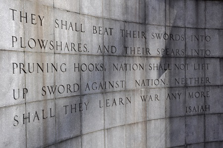 isaiah: The Isaiah Wall in the Ralph Bunche Park at the United Nations, New York, USA.