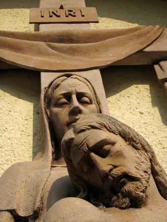 inri: INRI  Jesus, King of the Jews , detail photo of a religious sculpture Stock Photo