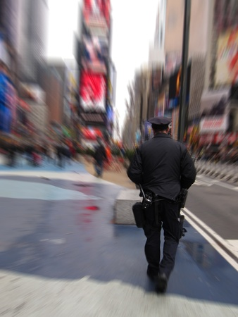policeman in black uniform on Times Square, New York  blurred background Stock Photo - 13020963