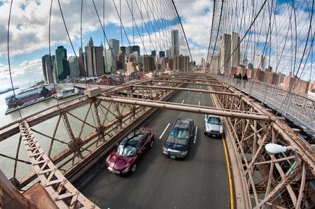 cars on Brooklyn Bridge in New York City, fish-eye lens photo.